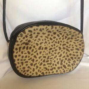 Vintage LJ Simone NY Leather & Fur Crossbody Bag